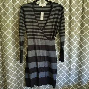 Loft Sz S Petite Black & Gray Sweater Dress NWT